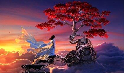 mujer-ante-arbol-en-flor